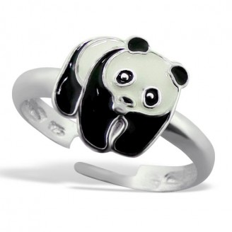 """Stříbrný prsten dětský nastavitelný """"Panda"""". Ag 925/1000"""